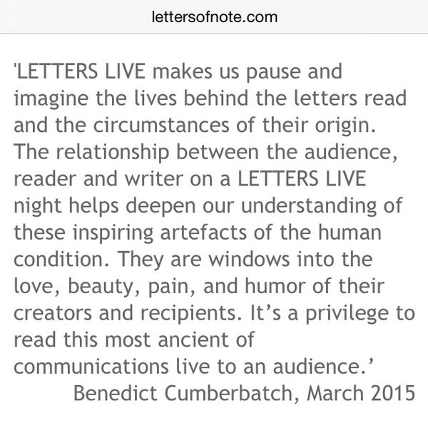 2015/03/07 : Benedict to read letters at Letters Live 2015